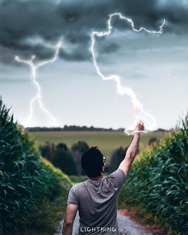 Photoshopで雷を描く方法